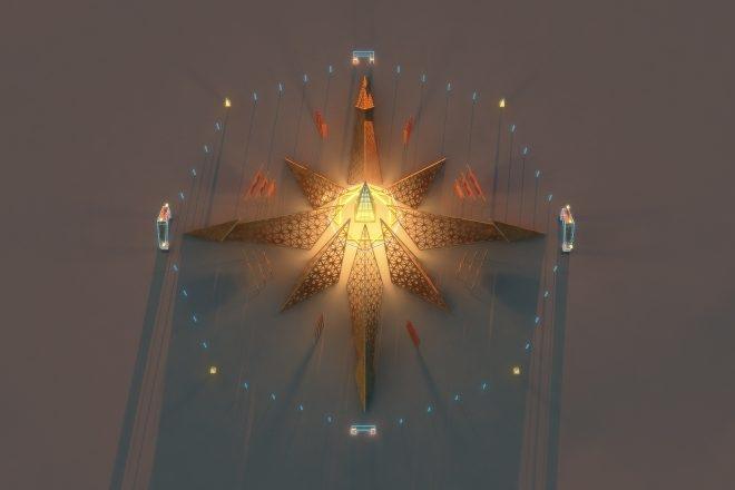 Burning Man 2020 reveals full 'Empyrean' temple & multiverse man design