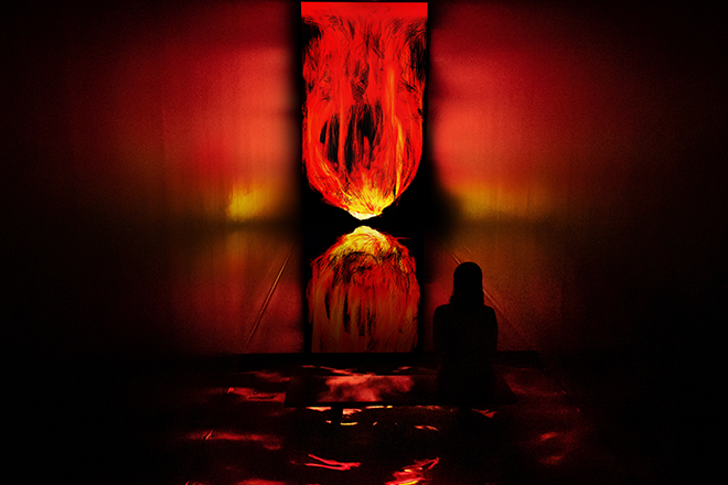 teamLab Planets Tokyo has transformed its outdoor digital monolith into a pillar of fire