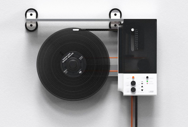A vertical vinyl player to hang on your wall like the artwork it is